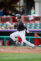 Erie SeaWolves third baseman Kody Eaves (24) follows through on a swing during a game against the New Hampshire Fisher Cats on June 20, 2018 at UPMC Park in Erie, Pennsylvania.  New Hampshire defeated Erie 10-9.  (Mike Janes/Four Seam Images)