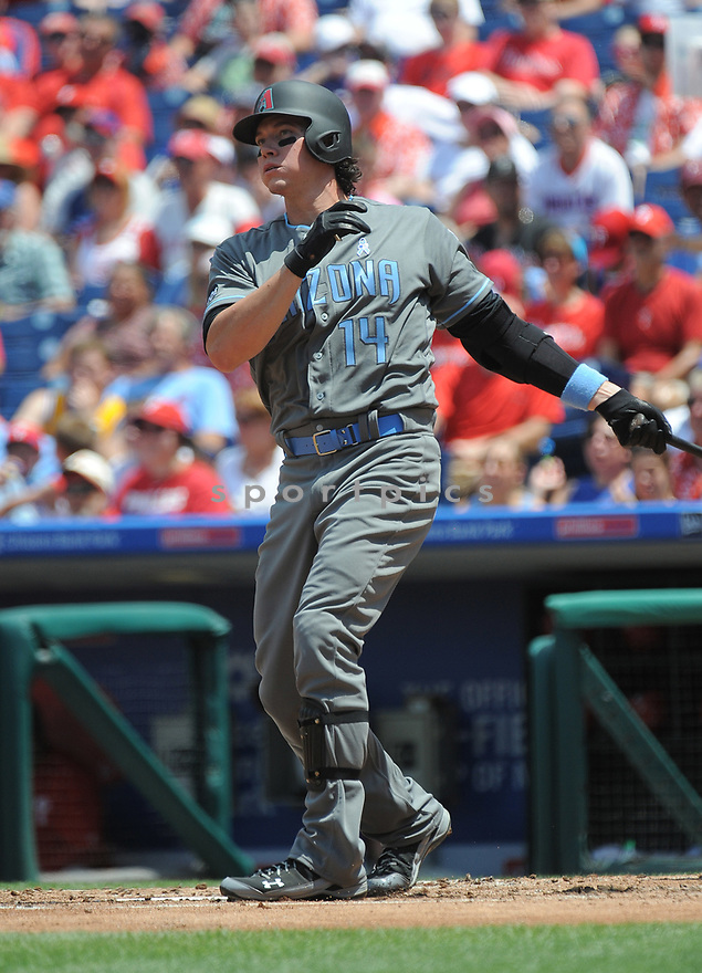 Arizona Diamondbacks Peter OBrien (14) during a game against the Philadelphia Phillies on June 19, 2016 at Citizens Bank Park in Philadelphia, PA. The Diamondbacks beat the Phillies 3-1.