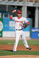 Harrisburg Senators third baseman Drew Ward (17) throws to first base during a game against the Bowie Baysox on May 16, 2017 at FNB Field in Harrisburg, Pennsylvania.  Bowie defeated Harrisburg 6-4.  (Mike Janes/Four Seam Images)