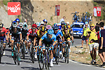 The leading riders including race leader Red Jersey Michal Kwiatkowski (POL) Team Sky on the slopes of Sierra de la Alfaguara near the finish of Stage 4 of the La Vuelta 2018, running 162km from Velez-Malaga to Alfacar, Sierra de la Alfaguara, Andalucia, Spain. 28th August 2018.<br /> Picture: Eoin Clarke | Cyclefile<br /> <br /> <br /> All photos usage must carry mandatory copyright credit (&copy; Cyclefile | Eoin Clarke)