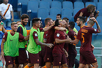 Calcio, Serie A: Roma vs Udinese. Roma, stadio Olimpico, 20 agosto 2016.<br /> Roma&rsquo;s Diego Perotti celebrates with teammates after scoring on a penalty kick during the Italian Serie A football match between Roma and Udinese at Rome's Olympic Stadium, 20 August 2016. Roma won 4-0.<br /> UPDATE IMAGES PRESS/Riccardo De Luca