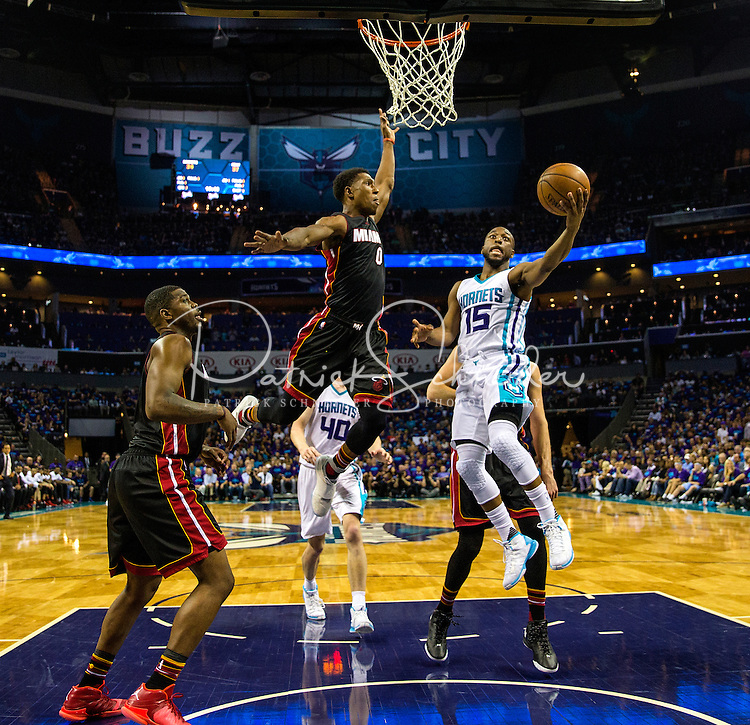 Photography of the Charlotte Hornets v. Miami Heat, during Game 6 of the Eastern Conference NBA Playoffs at Time Warner Cable Arena, In Charlotte, North Carolina.<br /> <br /> Charlotte Photographer - PatrickSchneiderPhoto.com