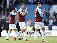 Burnley's players (from left) Jack Cork, Chris Wood and  Matthew Lowton look dejected as they applaud the fans at the final whistle<br /> <br /> Photographer Rich Linley/CameraSport<br /> <br /> The Premier League - Burnley v Huddersfield Town - Saturday 6th October 2018 - Turf Moor - Burnley<br /> <br /> World Copyright &copy; 2018 CameraSport. All rights reserved. 43 Linden Ave. Countesthorpe. Leicester. England. LE8 5PG - Tel: +44 (0) 116 277 4147 - admin@camerasport.com - www.camerasport.com