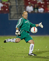 New England Revolution goalkeeper Matt Reis (1) punts the ball.  New England Revolution defeated FC Dallas 3-2 to capture the 2007 Lamar Hunt U.S. Open Cup at Pizza Hut Park in Frisco, TX on October 3, 2007.