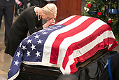 Mrs. Cindy McCain, wife of the late United States Senator John McCain (Republican of Arizona), says a prayer for her husband during the Lying in State ceremony honoring  in the US Capitol Rotunda in Washington, DC on Friday, August 31, 2018.<br /> Credit: Ron Sachs / CNP<br /> <br /> (RESTRICTION: NO New York or New Jersey Newspapers or newspapers within a 75 mile radius of New York City)