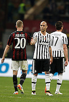 Calcio, Serie A: Milan vs Juventus. Milano, stadio San Siro, 9 aprile 2016. <br /> Milan&rsquo;s Ignazio Abate, left, greets Juventus&rsquo;s Simone Zaza at the end of the Italian Serie A football match between AC Milan and Juventus at Milan's San Siro stadium, 9 April 2016. Juventus won 2-1.<br /> UPDATE IMAGES PRESS/Isabella Bonotto