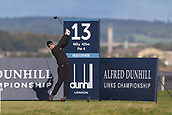 5th October 2017, The Old Course, St Andrews, Scotland; Alfred Dunhill Links Championship, first round; Richard Bland of England tees off on the thirteenth hole on the Old Course, St Andrews during the first round at the Alfred Dunhill Links Championship