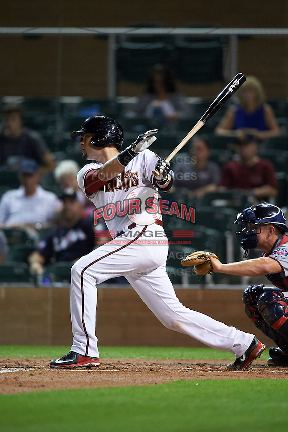 Salt River Rafters catcher Oscar Hernandez (25) at bat during an Arizona Fall League game against the Scottsdale Scorpions on October 13, 2015 at Salt River Fields at Talking Stick in Scottsdale, Arizona.  Salt River defeated Scottsdale 5-3.  (Mike Janes/Four Seam Images)