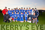 The St Marys Side who defeated Waterville 1-7 to 1-5 in the South Kerry U16's Championship on Monday evening were front l-r; Christy O'Connell(Trainer), Aidan O'Sullivan, Óisín Moran(Capt), Gareth Evans, Rory O'Shea, Adrian O'Sullivan, Junior Murphy(Trainer), Patrick McDaid(Trainer), back l-r;  Anthony Sheehan, Daragh O'Shea, Jack O'Mahony, Ian Moriarty, Jack Landers, Jim Sugrue, Muiris Fitzgerald, Blaine McCarthy, Michael O'Leary, Eoghan McDaid, Kian Esmond & Darcy O'Connell(Trainer).