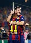 Spanje, Barcelona, 21 oktober 2014<br /> Seizoen 2014-2015<br /> Champions League<br /> FC Barcelona-Ajax<br /> Lionel Messi van FC Barcelona omhelst Neymar na zijn doelpunt