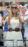 September 2, 2012: Model Brooklyn Decker looks on as her husband Andy Roddick (USA) plays his third round Men's Singles match on Day 7 of the 2012 U.S. Open Tennis Championships at the USTA Billie Jean King National Tennis Center in Flushing, Queens, New York, USA. Credit: mpi105/MediaPunch Inc. /NortePhoto.com<br />