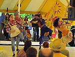 "Members of the Vanaver Caravan Dance troupe, performing,  ""Pastures of Plenty: Tribute to Woody Guthrie"" on the Dance Stage of the 2012 Clearwater Festival at Croton Point Park on Sunday, June 17, 2012. Photograph taken by Jim Peppler. Copyright Jim Peppler/2012."