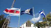 Flags of the participating nations fly over the stadium during the group stage of the CONCACAF Men's Under 17 Championship at Jarrett Park in Montego Bay, Jamaica. Costa Rica defeated El Salvador, 3-2.