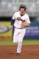 Fort Myers Miracle outfielder Travis Harrison (17) runs the bases after hitting a home run during a game against the St. Lucie Mets on April 18, 2014 at Hammond Stadium in Fort Myers, Florida.  St. Lucie defeated Fort Myers 15-9.  (Mike Janes/Four Seam Images)