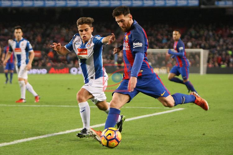 League Santander 2016/2017. Game: 16.<br /> FC Barcelona vs RCD Espanyol: 4-1.<br /> Oscar Melendo vs Lionel Messi.