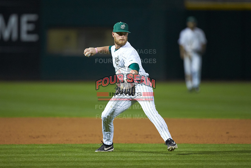 Charlotte 49ers third baseman Josh Haney (6) makes a throw to first base against the Clemson Tigers at BB&T BallPark on March 26, 2019 in Charlotte, North Carolina. The Tigers defeated the 49ers 8-5. (Brian Westerholt/Four Seam Images)