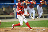 Batavia Muckdogs third baseman Patrick Wisdom #35 hits a walk off double during a NY-Penn League game against the Mahoning Valley Scrappers at Dwyer Stadium on August 23, 2012 in Batavia, New York.  Batavia defeated Mahoning Valley 2-1.  (Mike Janes/Four Seam Images)