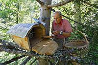 Camlihemsin: at the start of the season Mustafa Memoglu, perched on a pine, tastes the honey produced by his bees in a Kara Kovan trunk hive. The hives, carved out of the hollowed-out trunks of Lindens or chestnut trees, are closed like casks with just a few holes to let the bees come and go. They are then placed high up or in the trees to protect them from bears. ///Camlihemsin: Mustafa Memoglu perché sur un sapin goute en début de saison le miel produit par ses abeilles dans a rucher tronc Kara Kovan. Les ruches, taillées dans des troncs de bois de tilleul ou de châtaignier évidés, sont fermées comme un tonneau avec juste quelques trous permettant la circulation des abeilles. Elles ont ensuite placées en hauteur ou dans les arbres pour les protéger des ours…