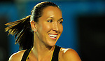 HONG KONG - JANUARY 07:  Jelena Jankovic of Serbia smiles during her match with Michelle Larcher de Brito of Portugal against Venus Williams and Coco Vndeweghe of United States on day one of the World Team Challenge 2009 tournament held at Victoria Park January 7, 2009 in Hong Kong, China.   Photo by Victor Fraile / The Power of Sport Images