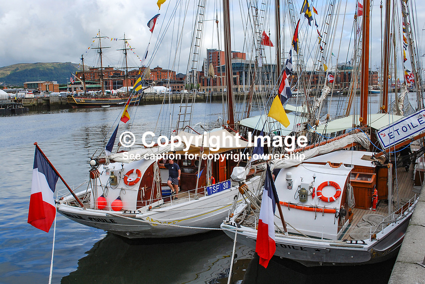 Tall Ships Atlantic Challenge. French entrants, Belle Poule and Etoile, moored in Belfast after their Atlantic Crossing. 200908132933...Copyright Image from Victor Patterson, 54 Dorchester Park, Belfast, UK, BT9 6RJ..Tel: +44 28 9066 1296.Mob: +44 7802 353836.Voicemail +44 20 8816 7153.Skype: victorpattersonbelfast.Email: victorpatterson@mac.com.Email: victorpatterson@ireland.com (back-up)..IMPORTANT: If you wish to use this image or any other of my images please go to www.victorpatterson.com and click on the Terms & Conditions. Then contact me by email or phone with the reference number(s) of the image(s) concerned.
