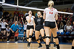 GRAND RAPIDS, MI - NOVEMBER 18: Julie Jakse (8) and Taylor Yontz (20) of Wittenberg University celebrate after scoring a point during the Division III Women's Volleyball Championship held at Van Noord Arena on November 18, 2017 in Grand Rapids, Michigan. Claremont-M-S defeated Wittenberg 3-0 to win the National Championship. (Photo by Doug Stroud/NCAA Photos via Getty Images)