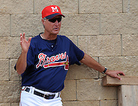9 April 2008: Pitching coach Derek Botelho (27) of the Mississippi Braves, Class AA affiliate of the Atlanta Braves, in the season's home opener against the Mobile BayBears at Trustmark Park in Pearl, Miss. Photo by:  Tom Priddy/Four Seam Images