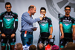 Bora-Hansgrohe introduced on stage at the Team Presentation before Stage 1 of the Deutschland Tour 2019, running 167km from Hannover to Halberstadt, Germany. 29th August 2019.<br /> Picture: ASO/Henning Angerer | Cyclefile<br /> All photos usage must carry mandatory copyright credit (© Cyclefile | ASO/Henning Angerer)