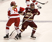 Abby Cook (BU - 9), Makenna Newkirk (BC - 19) - The Boston College Eagles defeated the Boston University Terriers 3-2 in the first round of the Beanpot on Monday, January 31, 2017, at Matthews Arena in Boston, Massachusetts.