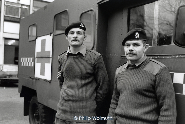 Army ambulance crew on standby at Chelsea Barracks during the ambulance workers' pay dispute.