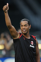 AC Milan forward Ronaldinho (80) salutes the fans.  DC United defeated AC. Milan 3-2 at RFK Stadium, Wednesday May 26, 2010.