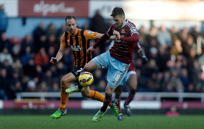 West Ham United's Carl Jenkinson in action during todays match  <br /> Photographer Kieran Galvin/CameraSport<br /> <br /> Football - Barclays Premiership - West Ham United v Hull City - Sunday 18th January 2015 - Boleyn Ground - London<br /> <br /> &copy; CameraSport - 43 Linden Ave. Countesthorpe. Leicester. England. LE8 5PG - Tel: +44 (0) 116 277 4147 - admin@camerasport.com - www.camerasport.com