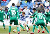 7th January 2018, Estadio Municipal de Butarque, Legales, Spain; La Liga football, Leganes versus Real Sociedad; Sergio Canales (Real Sociedad) challenged by Ezequiel Munoz (Leganes FC) during match