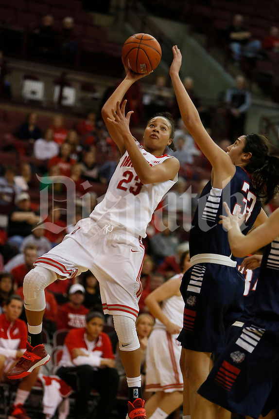 Ohio State Buckeyes forward Martina Ellerbe (23) drives on Gonzaga Bulldogs guard Lindsay Sherbert (33) at Value City Arena in Columbus Dec. 8, 2013.(Dispatch photo by Eric Albrecht)