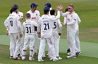 Simon Harmer of Essex (right) celebrates taking the wicket of Will Rhodes during Warwickshire CCC vs Essex CCC, Specsavers County Championship Division 1 Cricket at Edgbaston Stadium on 10th September 2019