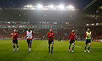 Mark Duffy, Leon Clarke, Samir Carruthers, Daniel Lafferty and Chris Basham of Sheffield Utd warm up during the Championship match at the Bramall Lane Stadium, Sheffield. Picture date 27th September 2017. Picture credit should read: Simon Bellis/Sportimage