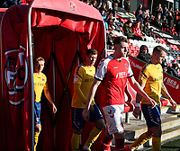 Fleetwood Town's Harry Souttar walks out to make his debut at the Highbury stadium<br /> <br /> Photographer Andrew Kearns/CameraSport<br /> <br /> The EFL Sky Bet League One - Fleetwood Town v Charlton Athletic - Saturday 2nd February 2019 - Highbury Stadium - Fleetwood<br /> <br /> World Copyright © 2019 CameraSport. All rights reserved. 43 Linden Ave. Countesthorpe. Leicester. England. LE8 5PG - Tel: +44 (0) 116 277 4147 - admin@camerasport.com - www.camerasport.com