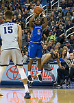South Dakota State guard David Jenkins (5) shoots against Nevada in the second half of an NCAA college basketball game in Reno, Nev., Saturday, Dec. 15, 2018. (AP Photo/Tom R. Smedes)