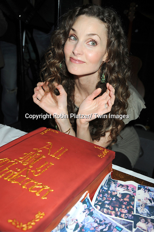 Alicia Minshew  with the cake attending the Good Night Pine Valley Event co-hosted by All My Children actors Ricky Paull Goldin and Alicia Minshew on September 17, 2011 at Prohibition in New York City