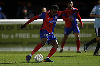 Fejiri Okenabirhie of Dagenham  shoots during Dagenham & Redbridge vs Aldershot Town, Vanarama National League Football at the Chigwell Construction Stadium on 10th February 2018