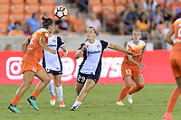 Houston, TX - Saturday July 15, 2017: Amber Brooks and Meggie Dougherty Howard during a regular season National Women's Soccer League (NWSL) match between the Houston Dash and the Washington Spirit at BBVA Compass Stadium.
