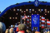 The USA flag flying high during the Opening Ceremony of the Solheim Cup 2019 at Gleneagles Golf CLub, Auchterarder, Perthshire, Scotland. 12/09/2019.<br /> Picture Thos Caffrey / Golffile.ie<br /> <br /> All photo usage must carry mandatory copyright credit (© Golffile | Thos Caffrey)