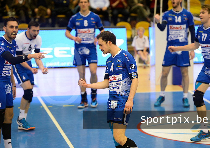 20161228 - ROESELARE ,  BELGIUM : Roeselare's Stijn D'hulst pictured celebrating during the second semi final in the Belgian Volley Cup between Knack Volley Roeselare and Lindemans Aalst in Roeselare , Belgium , Wednesday 28 th December 2016 . PHOTO SPORTPIX.BE | DAVID CATRY