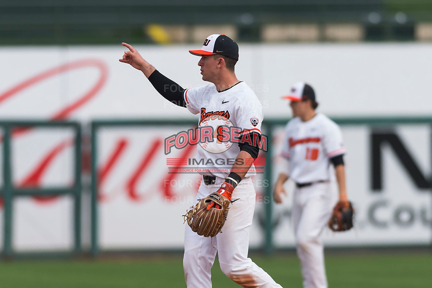 Oregon State Beavers shortstop Beau Philip (4) during a game against the New Mexico Lobos on February 15, 2019 at Surprise Stadium in Surprise, Arizona. Oregon State defeated New Mexico 6-5. (Zachary Lucy/Four Seam Images)