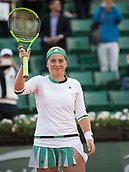 6th June 2017, Roland Garros, Paris, France; French Open tennis championships;   Jelena Ostapenko (LAT) celebrates defeating Caroline Wozniacki (DEN) in the quarter final of the French Open at Stade Roland Garros, Paris, France