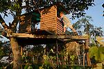 ROMANIA Banat, village Firiteaz, Bio Farmland, a farm run by swiss family / RUMAENIEN Banat, Firiteaz, BIO FARMLAND, betrieben von den Schweizer Einwanderern Familie Häni , Sohn Boris im Baumhaus im Garten