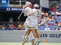 Annapolis, MD - May 20, 2018: Maryland Terrapins players celebrates after a goal during the quarterfinal game between Maryland vs Cornell at  Navy-Marine Corps Memorial Stadium in Annapolis, MD.   (Photo by Elliott Brown/Media Images International)
