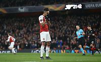 Arsenal's Pierre-Emerick Aubameyang after going close in the second half<br /> <br /> Photographer Rob Newell/CameraSport<br /> <br /> Football - UEFA Europa League Round of 16 Leg 2 - Arsenal v Rennes - Thursday 14th March 2019 - The Emirates - London<br />  <br /> World Copyright © 2018 CameraSport. All rights reserved. 43 Linden Ave. Countesthorpe. Leicester. England. LE8 5PG - Tel: +44 (0) 116 277 4147 - admin@camerasport.com - www.camerasport.com