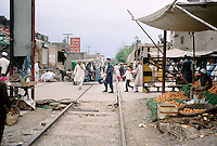 Street market along the railway to the Afghan Khyber pass, Peshawar Pakistan