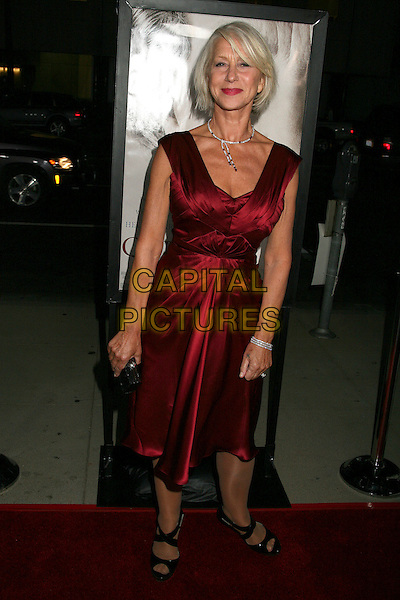 "HELEN MIRREN.Los Angeles Premiere of ""The Queen"", Beverly Hills, California, USA..October 3rd, 2006.Ref: ADM/BP.full length red satin dress.www.capitalpictures.com.sales@capitalpictures.com.©Byron Purvis/AdMedia/Capital Pictures."