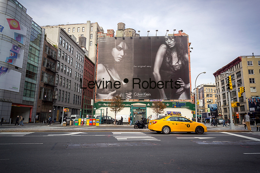 A billboard advertising Calvin Klein brand underwear using Kendall Jenner as a model in the Soho neighborhood of New York on Monday, November 2, 2015. Klein's advertisements use sex and provocative images to test society's cultural and moral boundaries. (© Richard B. Levine)